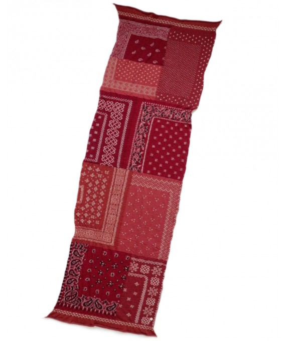 Wool Scarf Patchwork Bandana Red